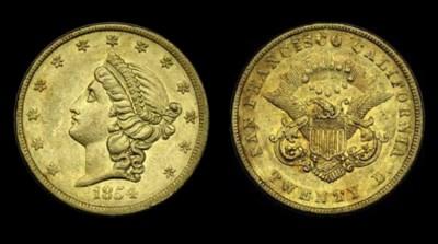 1854 Kellogg & Co. $20 gold. K