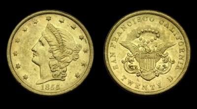 1855 Kellogg & Co. $20 gold. K