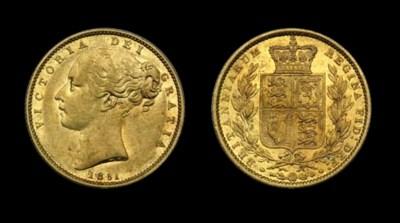 England. 1851 Sovereign. KM 73