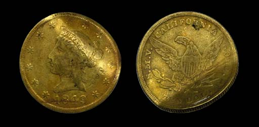 1849 Moffat & Co. $10 gold. Ka