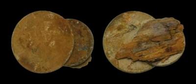 Pair of fused silver coins att