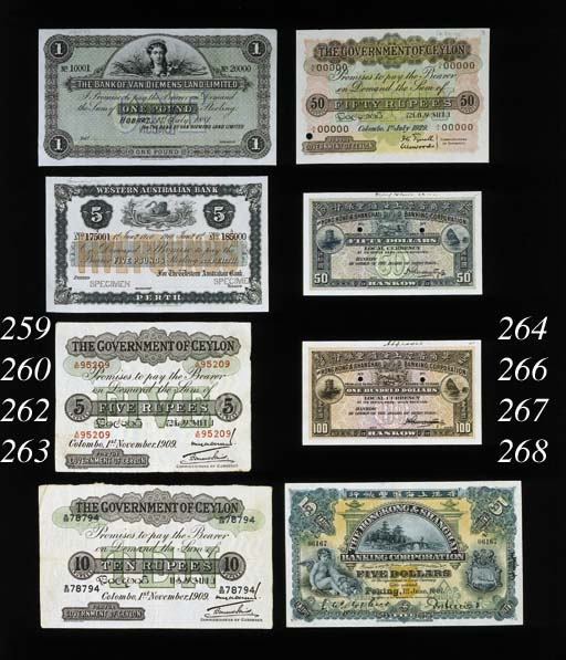 Government Issue, Specimen 50-Rupees, 1 July 1929, red serial no. A/I 00000, green, pink and multicoloured, value at centre, rev. green and white, elephant at centre (P.26), perforation and ink date on reverse '16/1/30', pinholds top left otherwise good extremely fine, scarce