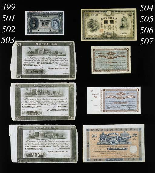 Oriental Bank, unissued 1000-Rupees, Bombay, 184-, serial no. 310, colour and design as last (Jhunjhunwalla 3.1.4) about extremely fine and extremely rare