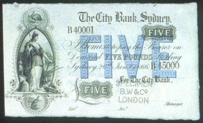 City Bank Sydney, specimen £5,