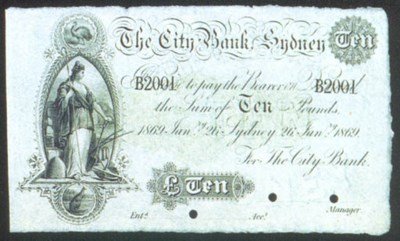 City Bank Sydney, specimen £10