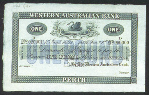 Western Australia Bank, specim