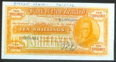 Bank of New Zealand, 10 shilli