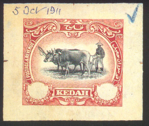 """Proof  -- Malay ploughing master in black and red on wove paper (41x34mm.) showing guide marks on all sides, dated """"5 Oct 1911"""" at top. Photo"""
