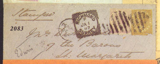 cover 1886 (1 Dec.) envelope f