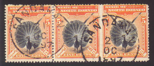 used  1897 (Mar.) 5c. black and orange-vermilion, a horizontal strip of three, variety imperforate between the second and third stamps, fine used with clear Sandakan datestamps; a few light creases not affecting appearance. Very rare. S.G. 100ab, £600. Photo