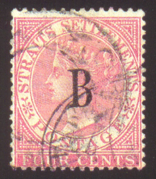 """used  1882-85 CC 4c. rose cancelled by part """"WINDSOR & REDLICH CO LTD/BANGKOK/SIAM"""" firm's cachet and part Singapore PO h.s.; light corner crease otherwise fine. Very scarce. S.G. 3, £1100. Photo"""