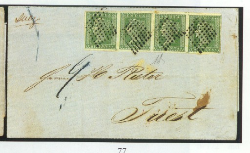 "cover 1855 (18 Sept.) entire to Trieste, marked ""Suez"", bearing 2a. green strip of four with good to large margins, clearly tied by diamond of dots, showing manuscript ""9"" in blue ink and, on reverse, red arrival c.d.s. A rare and attractive franking. R.P.S. Certificate (1959). Photo"