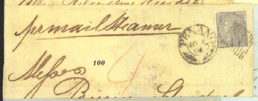 """cover 1864 (10 Dec.) entire to Singapore, bearing 4a. grey-black clearly tied by """"147"""" duplex, showing red crayon """"4"""" and, on reverse, """"SINGAPORE/P.O."""" arrival c.d.s. in red; the entire with heavy central vertical filing fold. Photo"""