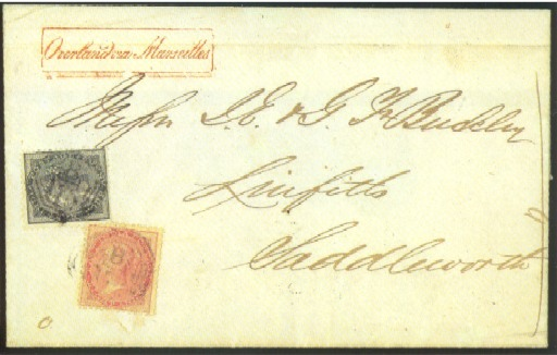 """cover 1862 (5 May) entire letter ex the """"Buckley"""" correspondence to Saddleworth with handstamped """"Overland via Marseilles"""" in red at upper left, bearing 4a. grey-black and 8a. carmine, both cancelled """"B/172"""" and showing, on reverse, """"SINGAPORE/P.O."""" c.d.s. in red and Manchester d.s. Photo"""