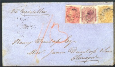 cover 1865 envelope to Glasgow