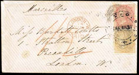 """cover 1863 envelope ex the """"Coutts"""" correspondence to London, marked """"Marseilles"""", bearing 1856 2a. yellow-buff and 8a. carmine tied by double-circle """"POST OFFICE/SARAWAK"""" and cancelled by slightly smudged """"B/172"""" obliterators, showing red crayon """"1/2"""", London Paid c.d.s. (26.6) and, on reverse, """"SINGAPORE/P.O."""" c.d.s. (April) in red. A very rare and most attractive franking. Photo"""