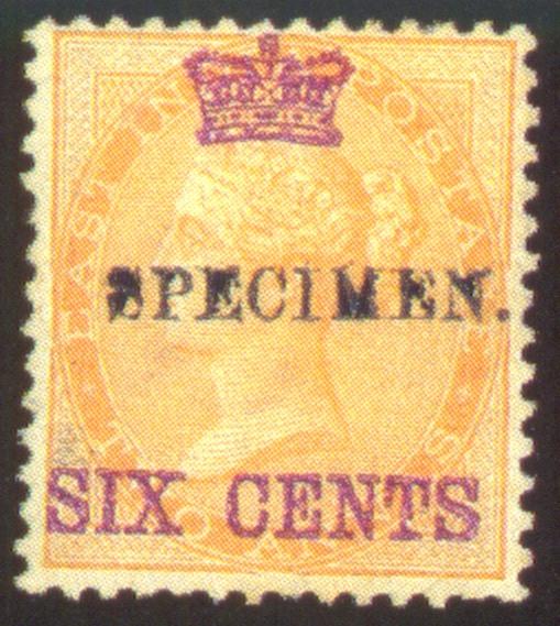 Specimen   6c. on 2a. yellow h