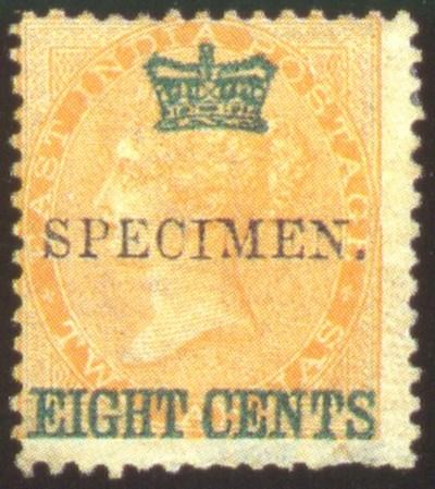 Specimen   8c. on 2a. yellow h