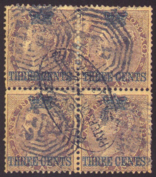 used Block of Four  3c. on 1a.