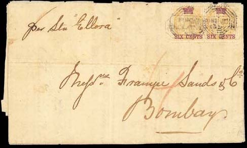 """cover 1867 (6 Sept.) entire letter from Singapore to Bombay, marked """"per Str Ellora"""", bearing 6c. on 2a. pair tied by """"B/172"""" obliterators and firm's chop and showing red crayon """"4"""" with, on reverse, """"SINGAPORE/P.O."""" and arrival datestamps; the cover split and repaired along most folds. A very early date of use and a very scarce double rate, being one of only three such recorded frankings bearing the 6c. Photo"""