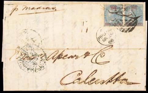 """cover 1868 (5 Mar.) entire letter from Mauritius to Calcutta via Penang, marked """"p Madras"""", bearing 1½c. on ½a. blue pen-cancelled pair additionally tied by Penang """"D14"""" duplex and showing, on reverse, Calcutta arrival d.s.; some ink etching and other lesser faults. A great rarity, being one of only three recorded covers bearing the 1½c. on ½a. adhesive. Photo"""