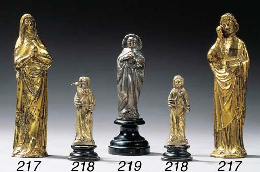 Two gilt bronze figures of the