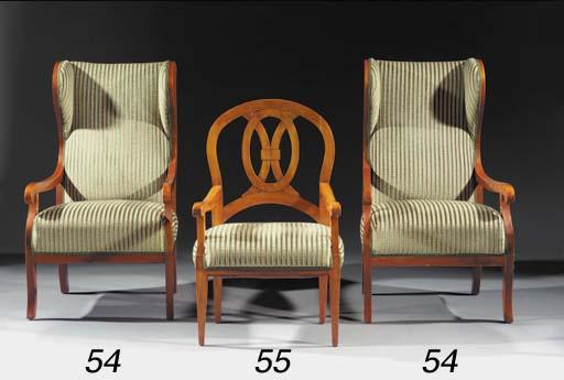 A German fruitwood arm chair