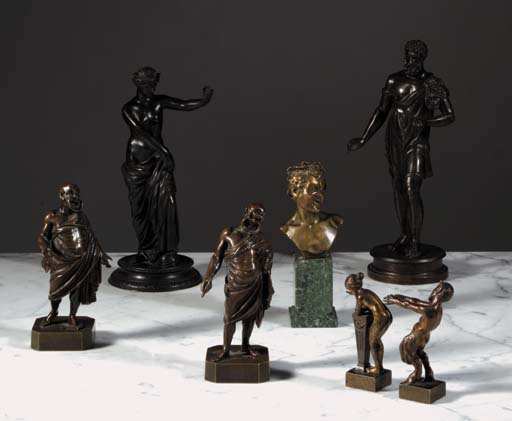 Seven various bronze figures
