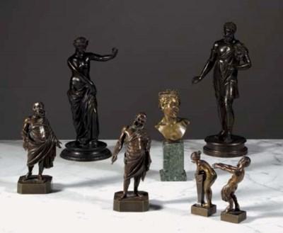 Seven various bronze figures
