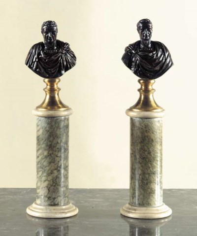 A pair of bronze busts of Roma