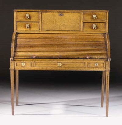 A Dutch oak cylinder bureau