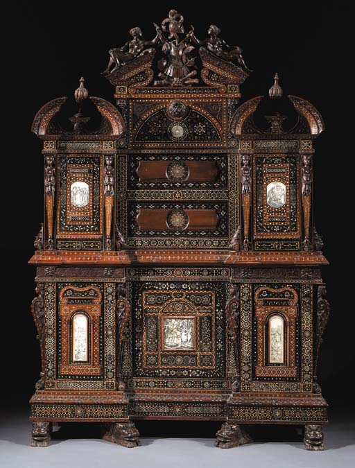 An Italian walnut, ebony and ivory marquetry inverted break-front cabinet 'a la certosina'