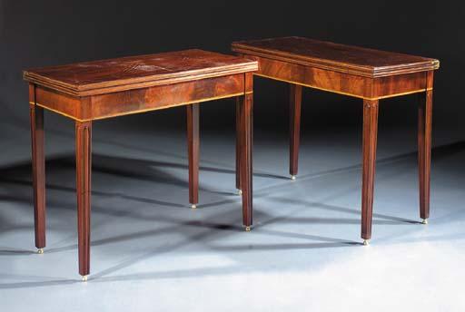 A pair of English mahogany gam