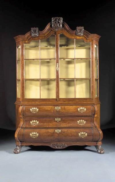 A Dutch walnut display-cabinet