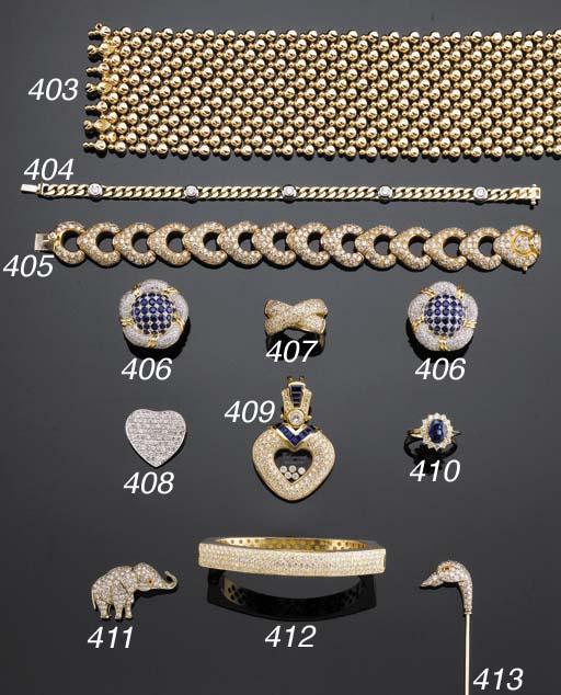 A GOLD, DIAMOND AND SAPPHIRE C
