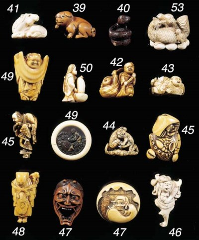 A set of eight ivory netsuke