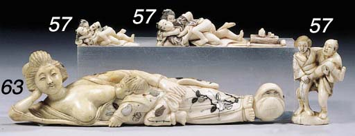 Two erotic ivory netsuke and a