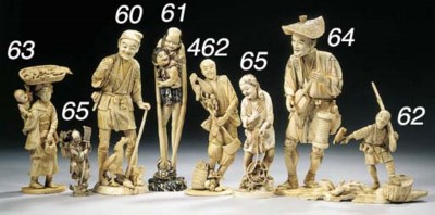 A group of six ivory lacquered