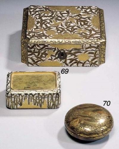 A circular lacquer box and cov