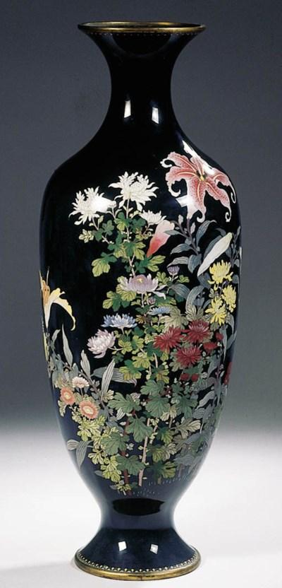 A large cloisonne baluster vas
