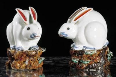 A pair of Arita figures of rab