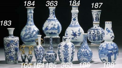 Two blue and white vases and a