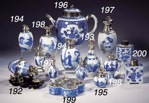 Four blue and white jars and c