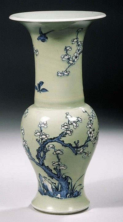 A blue and white celadon groun