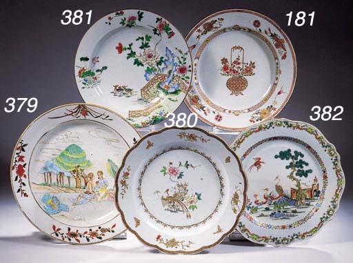 Four famille rose dishes