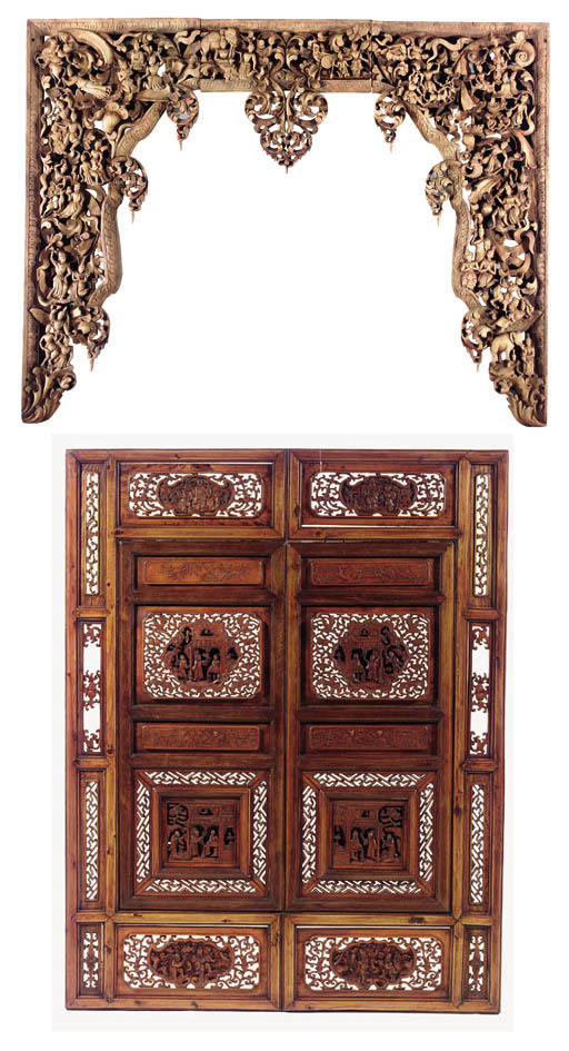 Two carved wood window frames