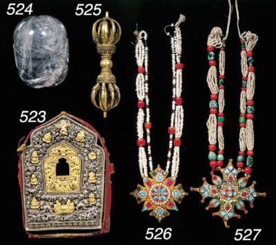 a tibetan gilt and silver gahu