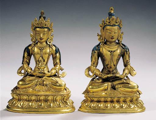 two tibeto chinese gilt-bronze