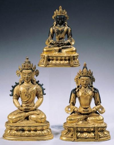 three tibeto chinese gilt-bron