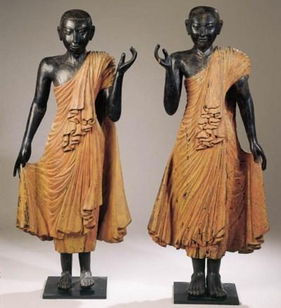 a pair of burmese polychromed